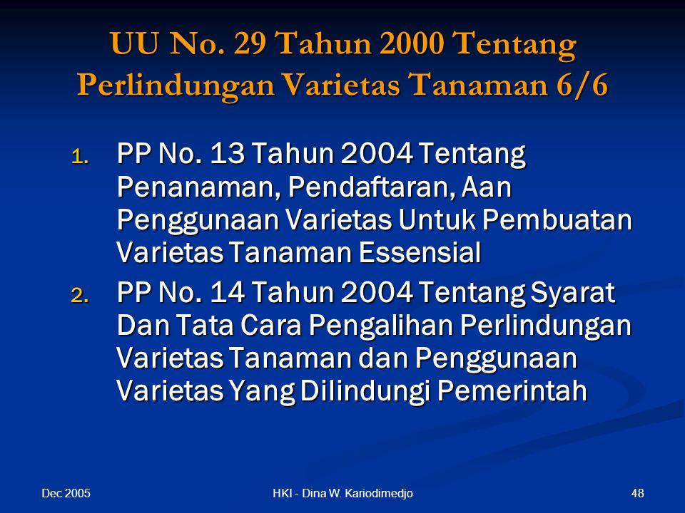 UU No. 29 Tahun 2000 Tentang Perlindungan Varietas Tanaman 6/6