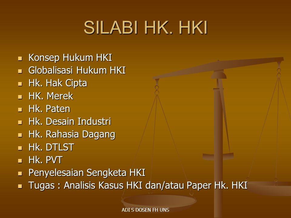 SILABI HK. HKI Konsep Hukum HKI Globalisasi Hukum HKI Hk. Hak Cipta