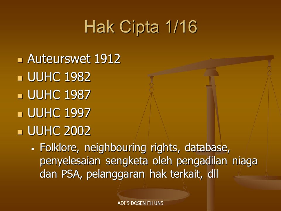Hak Cipta 1/16 Auteurswet 1912 UUHC 1982 UUHC 1987 UUHC 1997 UUHC 2002