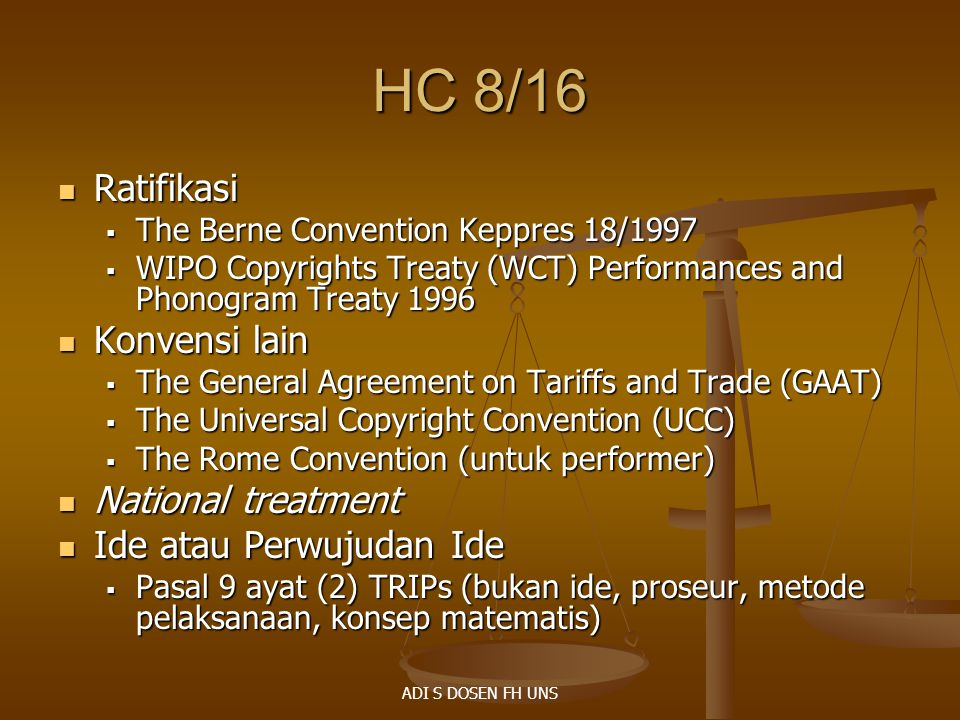HC 8/16 Ratifikasi Konvensi lain National treatment