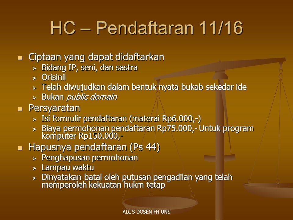 HC – Pendaftaran 11/16 Ciptaan yang dapat didaftarkan Persyaratan