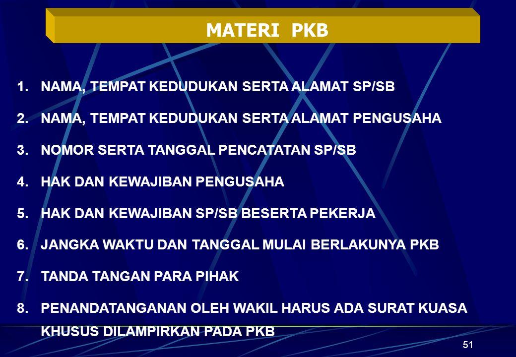 MATERI PKB NAMA, TEMPAT KEDUDUKAN SERTA ALAMAT SP/SB
