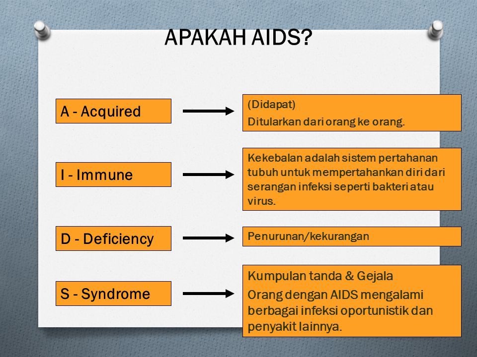 APAKAH AIDS A - Acquired I - Immune D - Deficiency S - Syndrome