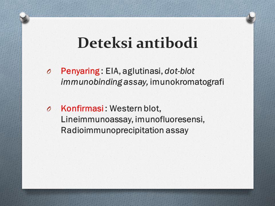 Deteksi antibodi Penyaring : EIA, aglutinasi, dot-blot immunobinding assay, imunokromatografi.