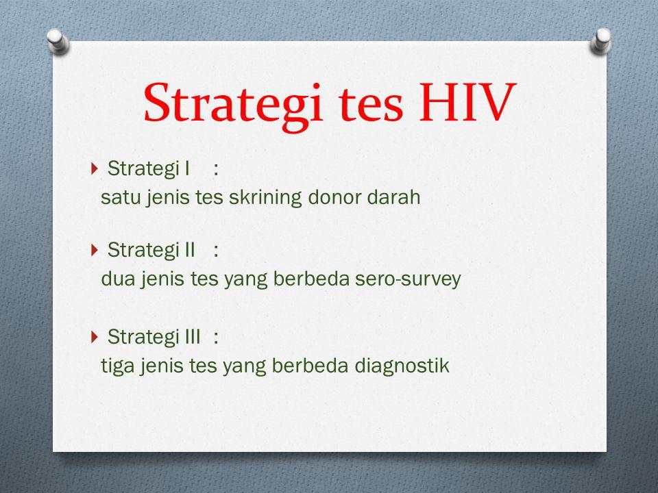 Strategi tes HIV Strategi I : satu jenis tes skrining donor darah