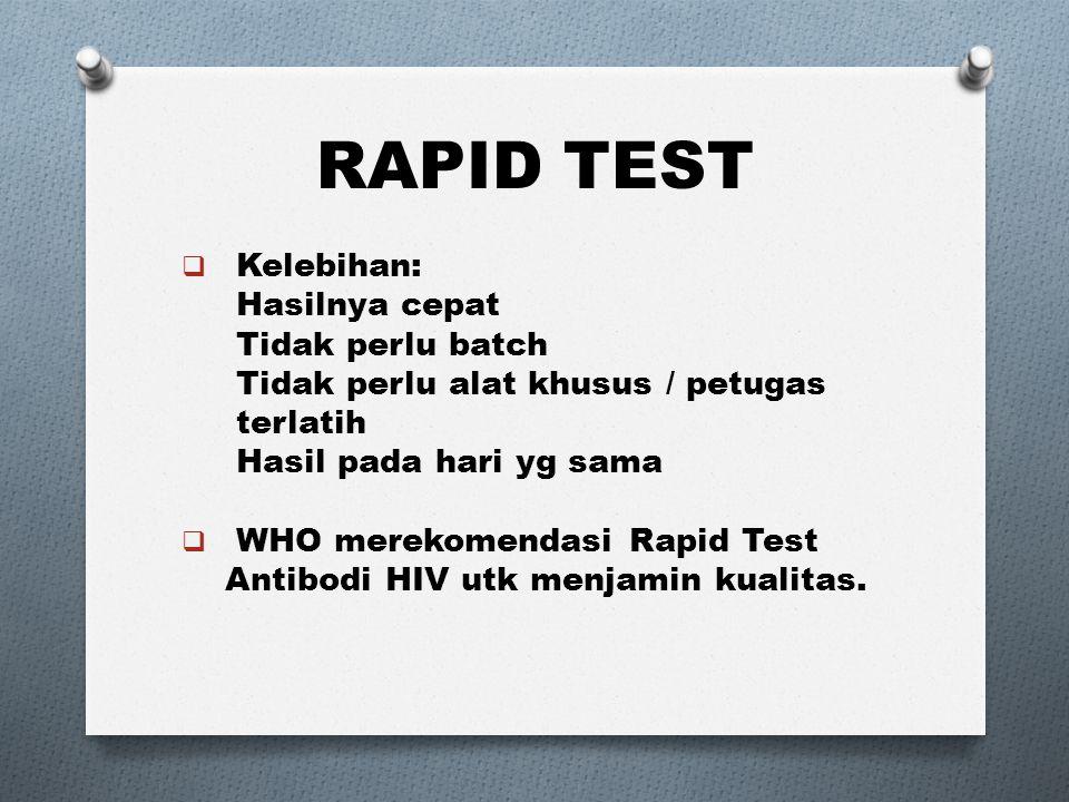 RAPID TEST Kelebihan: Hasilnya cepat Tidak perlu batch