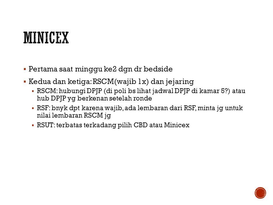 MiniCEX Pertama saat minggu ke2 dgn dr bedside