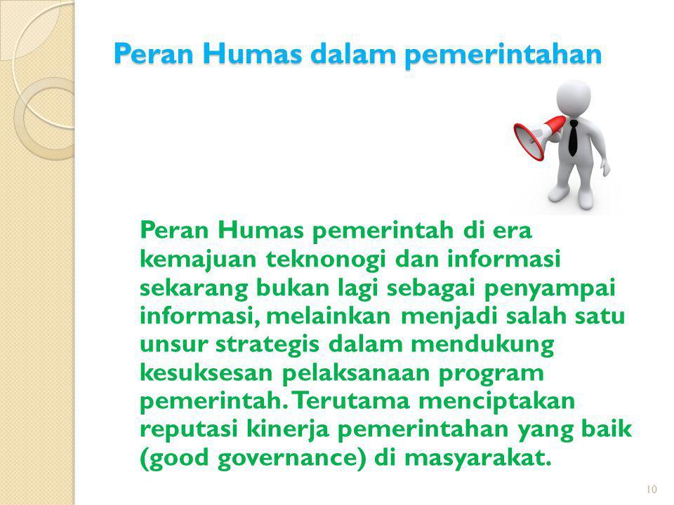 Peran Humas dalam pemerintahan