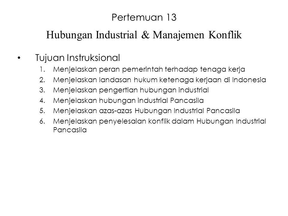 Pertemuan 13 Hubungan Industrial & Manajemen Konflik