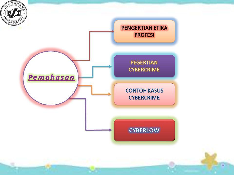 Pemahasan CYBERLOW PENGERTIAN ETIKA PROFESI PEGERTIAN CYBERCRIME