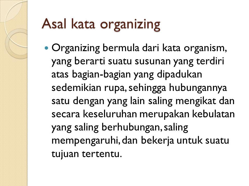 Asal kata organizing