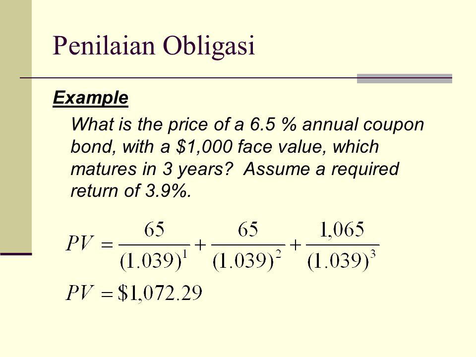 Penilaian Obligasi Example