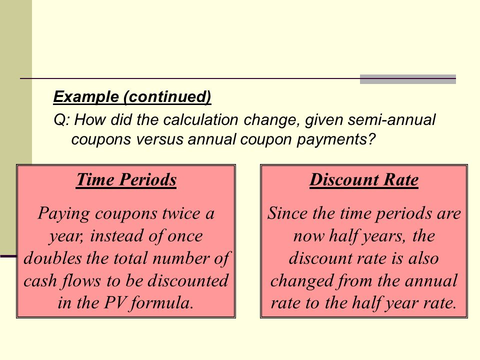 Example (continued) Q: How did the calculation change, given semi-annual coupons versus annual coupon payments