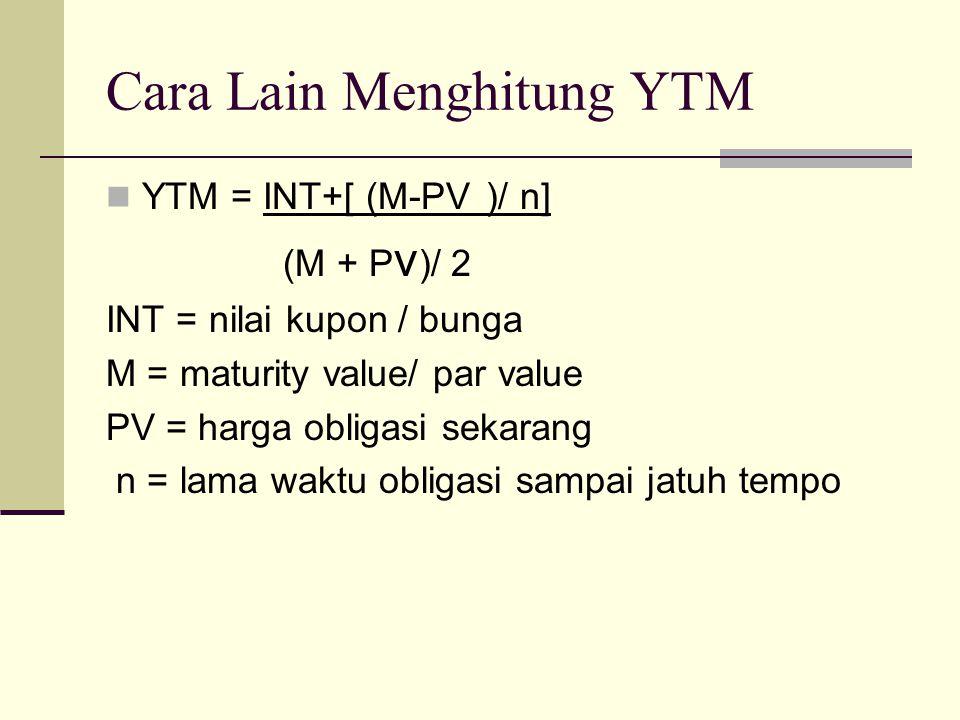 Cara Lain Menghitung YTM