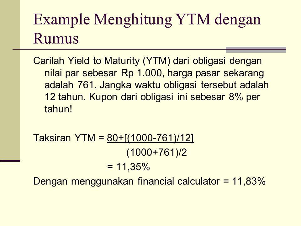 Example Menghitung YTM dengan Rumus