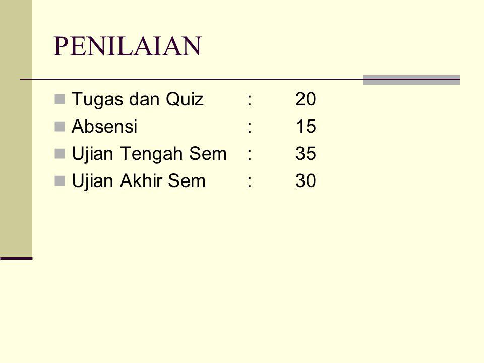 PENILAIAN Tugas dan Quiz : 20 Absensi : 15 Ujian Tengah Sem : 35