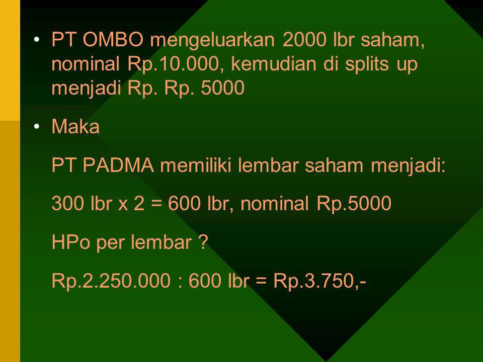 PT OMBO mengeluarkan 2000 lbr saham, nominal Rp. 10