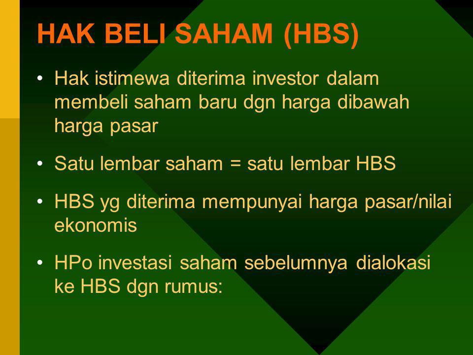HAK BELI SAHAM (HBS) Hak istimewa diterima investor dalam membeli saham baru dgn harga dibawah harga pasar.