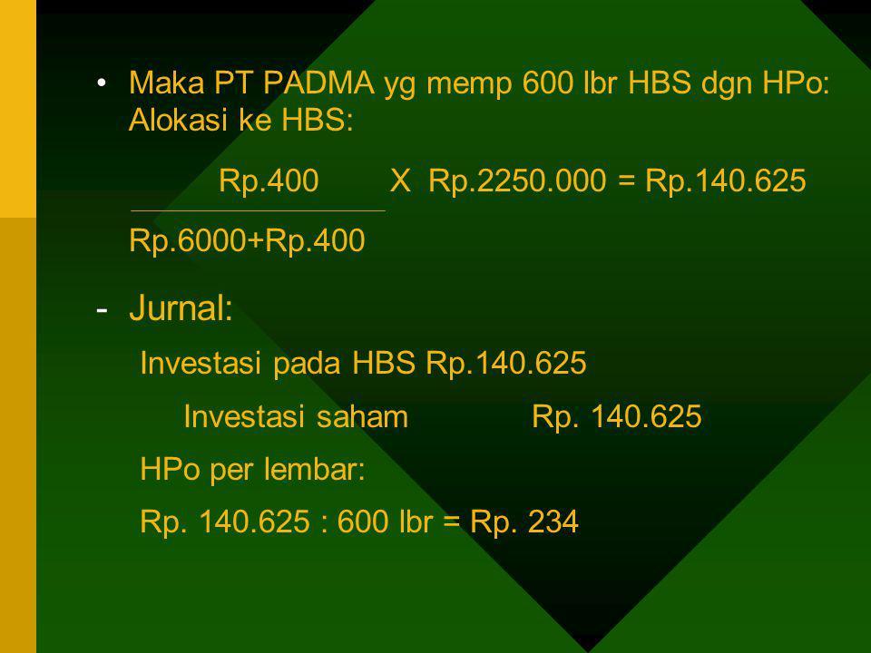 Jurnal: Maka PT PADMA yg memp 600 lbr HBS dgn HPo: Alokasi ke HBS: