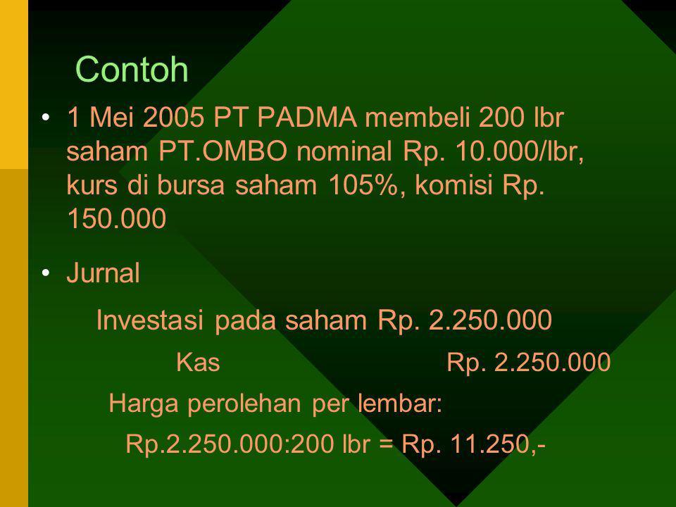 Contoh 1 Mei 2005 PT PADMA membeli 200 lbr saham PT.OMBO nominal Rp. 10.000/lbr, kurs di bursa saham 105%, komisi Rp. 150.000.
