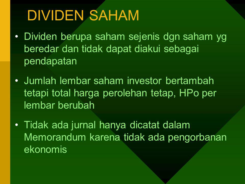 DIVIDEN SAHAM Dividen berupa saham sejenis dgn saham yg beredar dan tidak dapat diakui sebagai pendapatan.