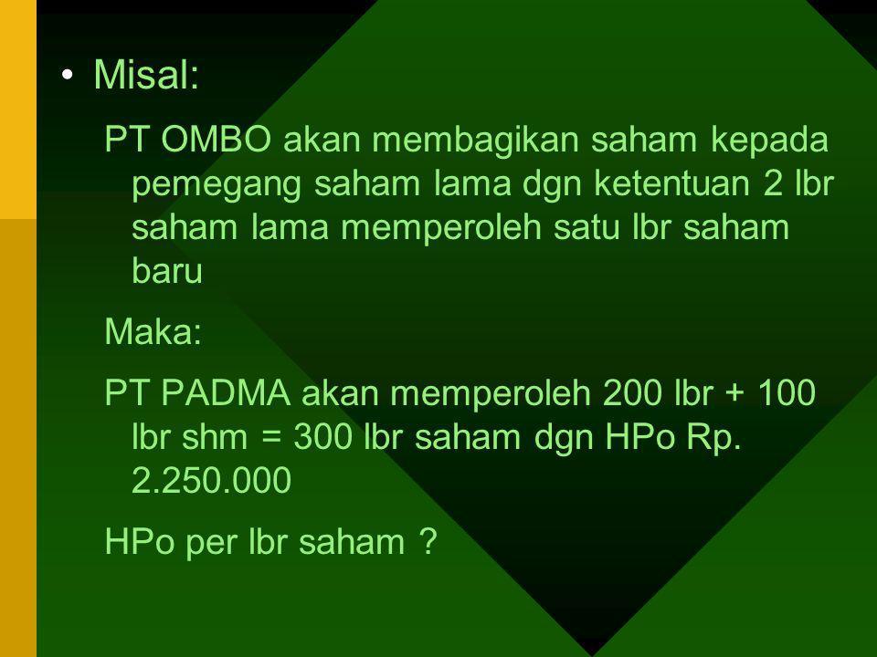 Misal: PT OMBO akan membagikan saham kepada pemegang saham lama dgn ketentuan 2 lbr saham lama memperoleh satu lbr saham baru.