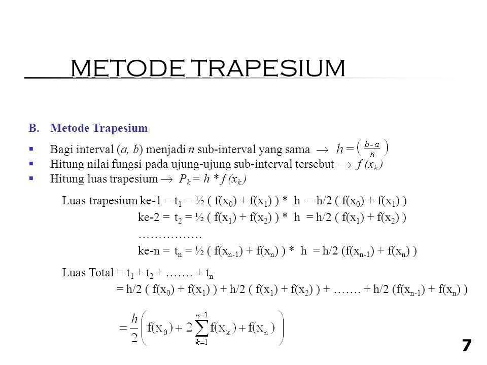 METODE TRAPESIUM Metode Trapesium