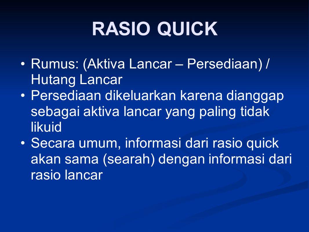 RASIO QUICK Rumus: (Aktiva Lancar – Persediaan) / Hutang Lancar