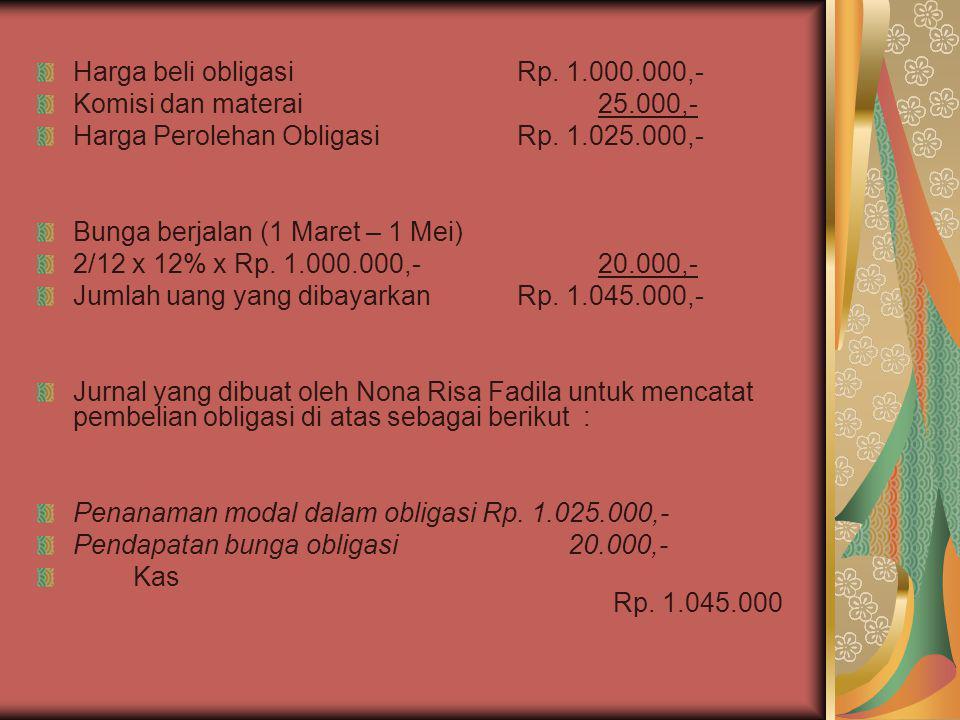 Harga beli obligasi Rp. 1.000.000,-