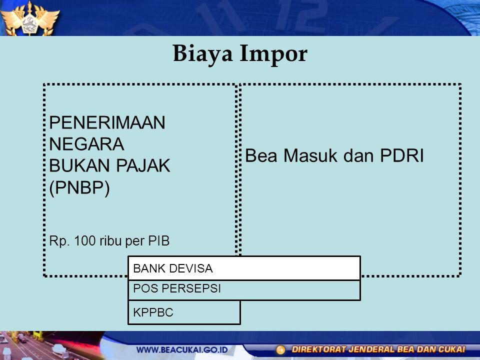 Biaya Impor Bea Masuk dan PDRI PENERIMAAN NEGARA BUKAN PAJAK (PNBP)