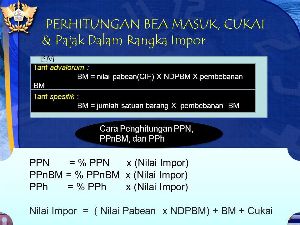 PERHITUNGAN BEA MASUK, CUKAI & Pajak Dalam Rangka Impor