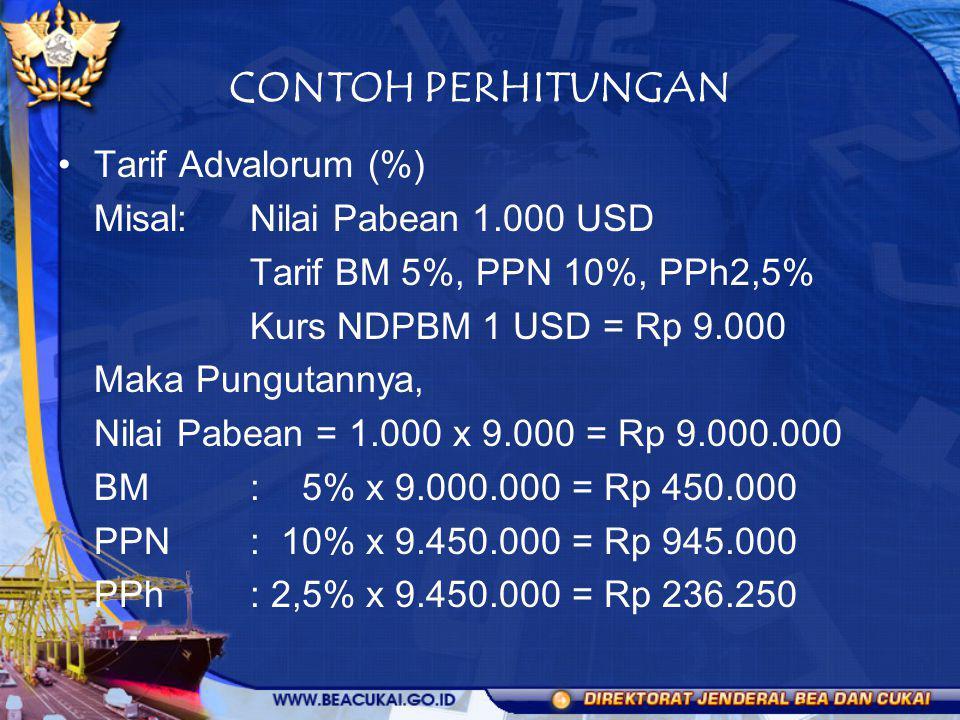 CONTOH PERHITUNGAN Tarif Advalorum (%) Misal: Nilai Pabean 1.000 USD