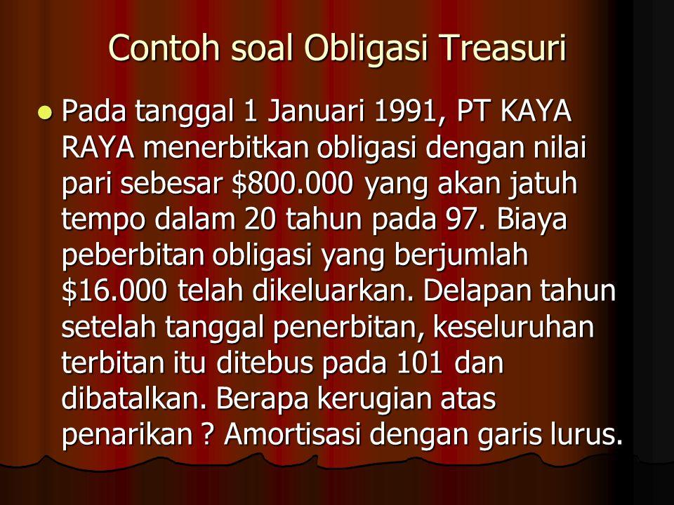 Contoh soal Obligasi Treasuri