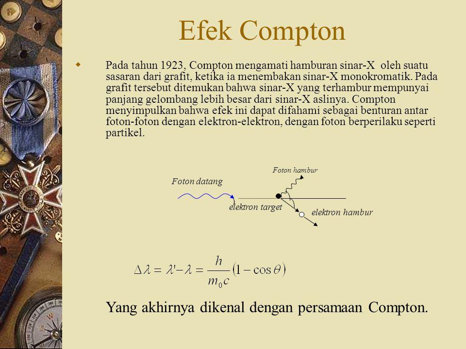 Efek Compton Yang akhirnya dikenal dengan persamaan Compton.