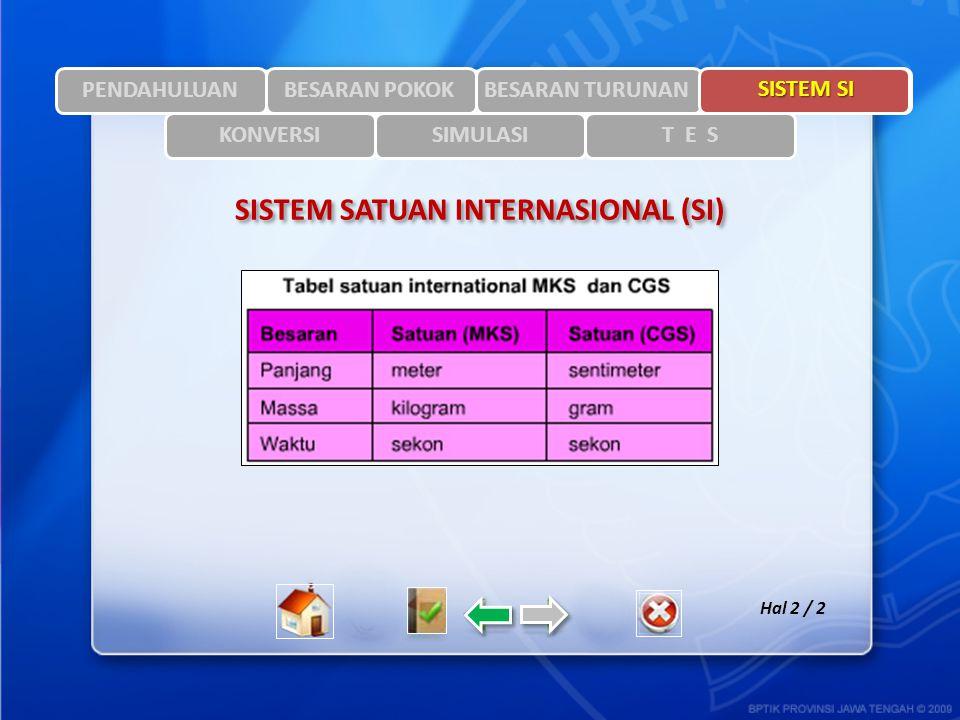 SISTEM SATUAN INTERNASIONAL (SI)