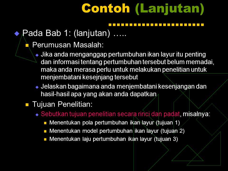 Contoh (Lanjutan) …………………..