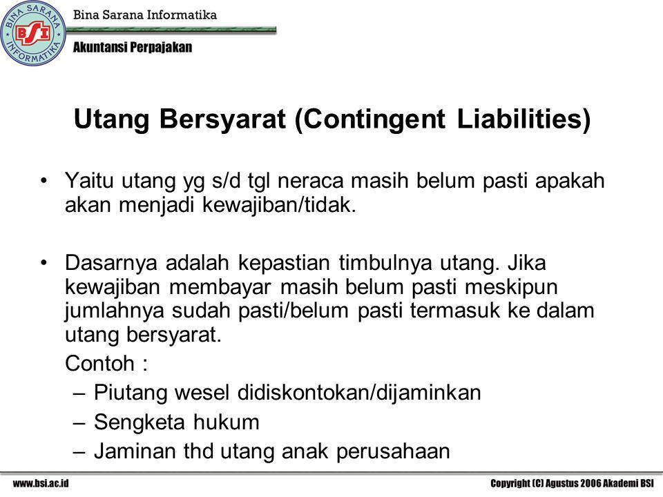 Utang Bersyarat (Contingent Liabilities)
