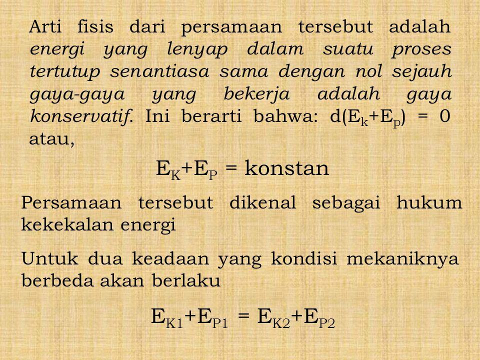 EK+EP = konstan EK1+EP1 = EK2+EP2