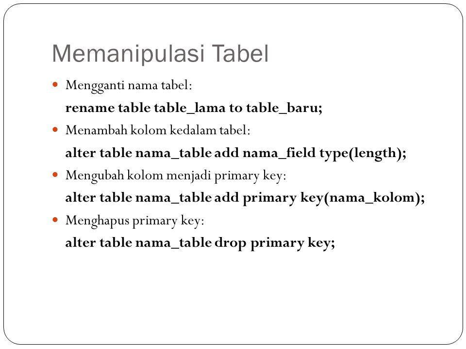 Memanipulasi Tabel Mengganti nama tabel: