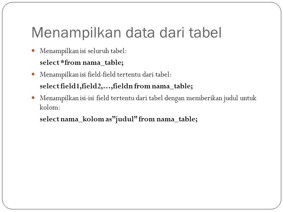 Menampilkan data dari tabel