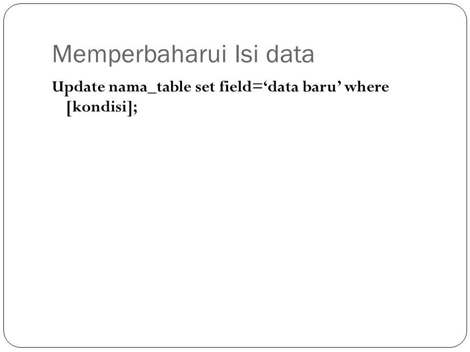 Memperbaharui Isi data