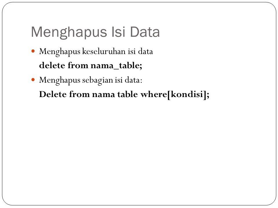 Menghapus Isi Data Menghapus keseluruhan isi data