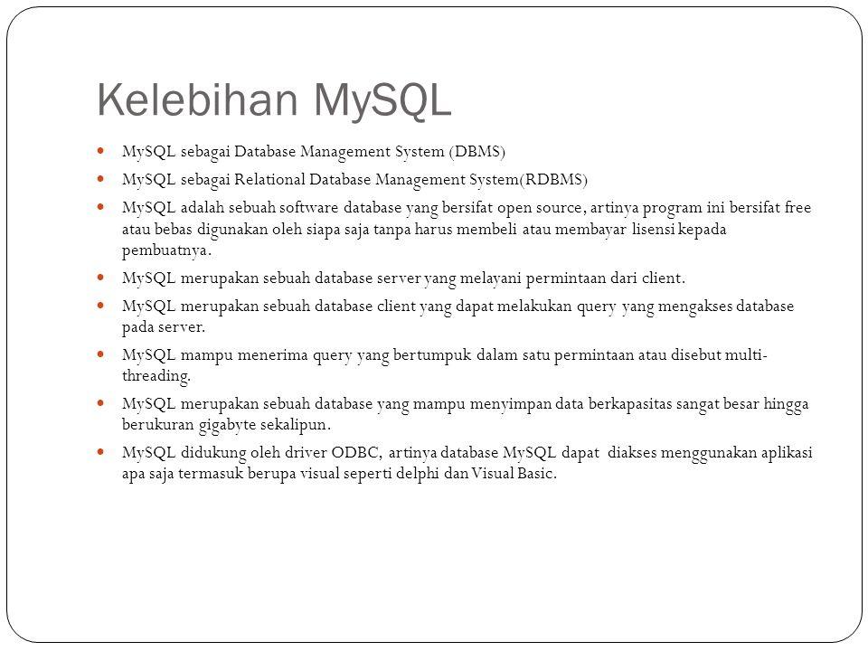 Kelebihan MySQL MySQL sebagai Database Management System (DBMS)