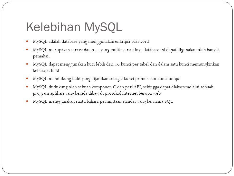 Kelebihan MySQL MySQL adalah database yang menggunakan enkripsi password.