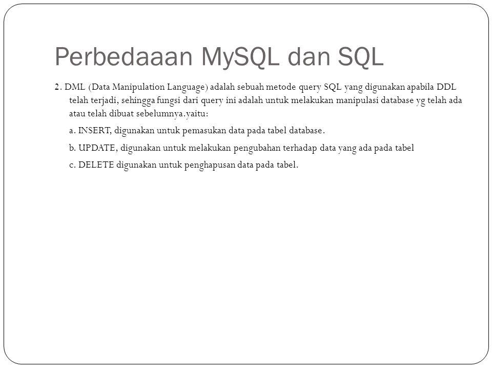 Perbedaaan MySQL dan SQL