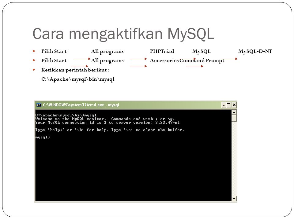 Cara mengaktifkan MySQL