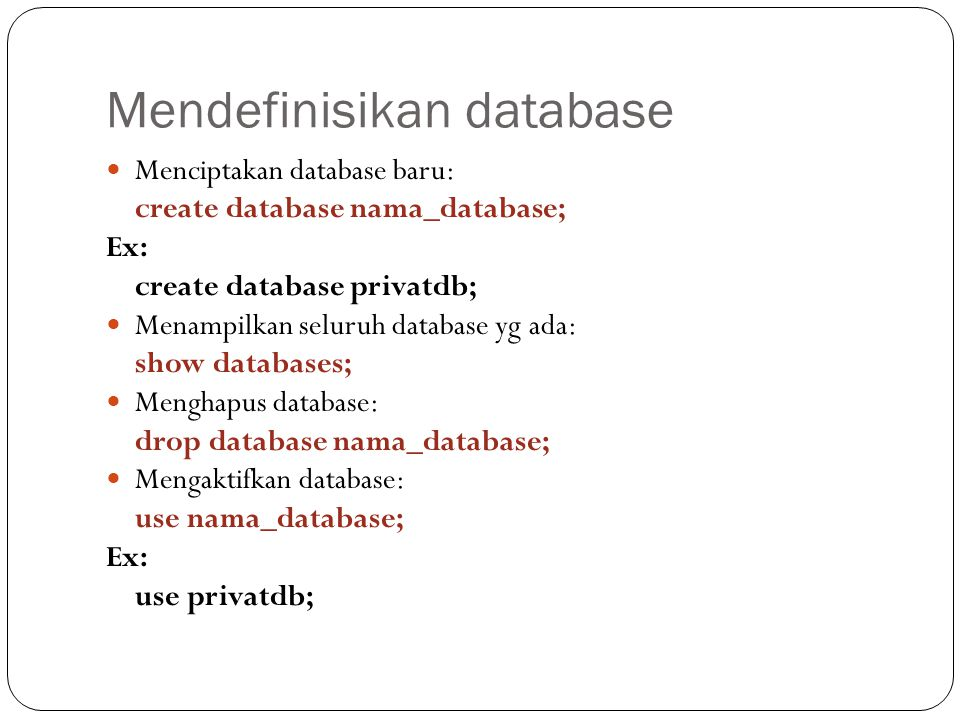 Mendefinisikan database