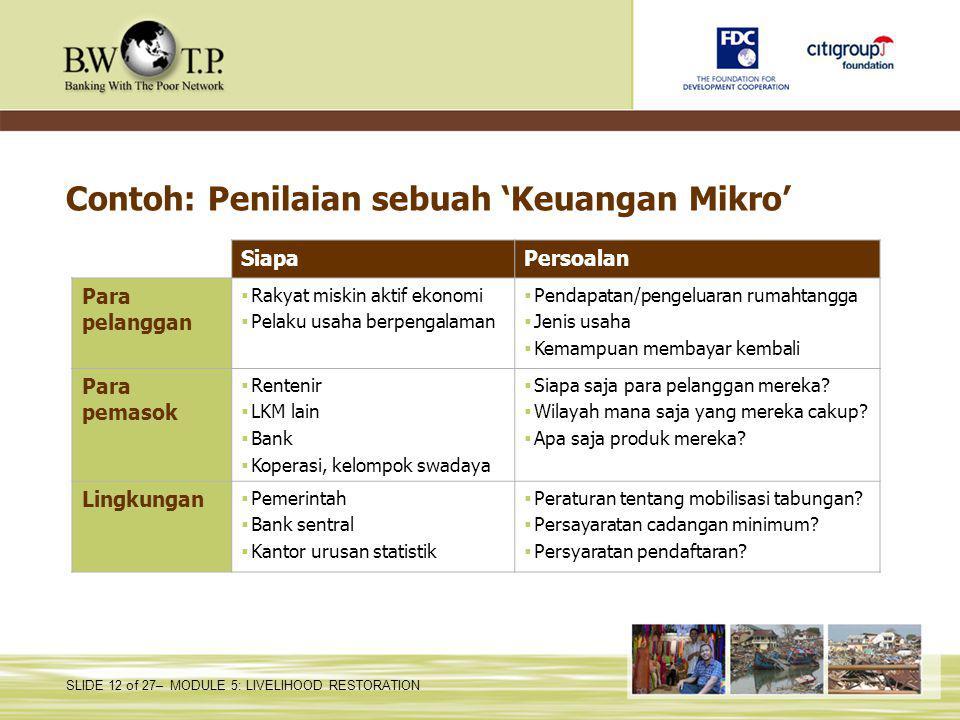 Contoh: Penilaian sebuah 'Keuangan Mikro'