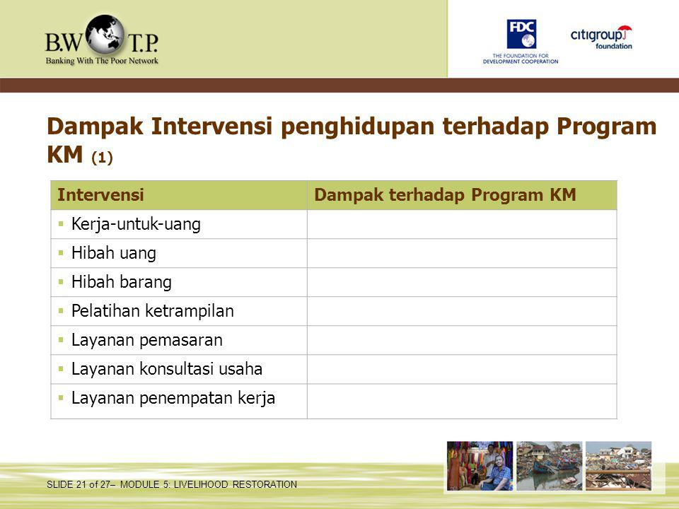 Dampak Intervensi penghidupan terhadap Program KM (1)