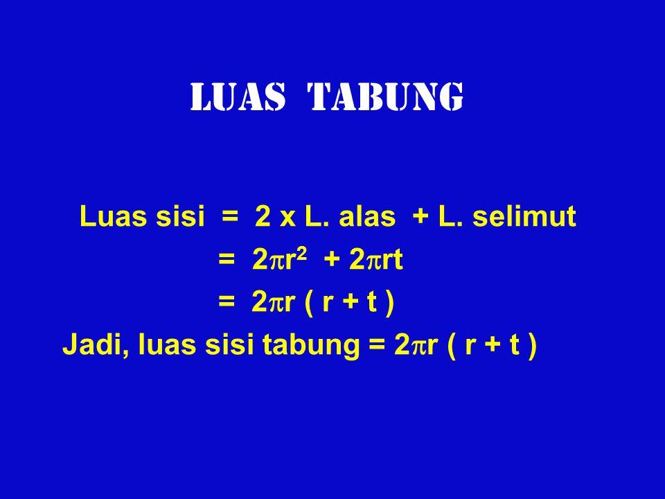 LUAS TABUNG Luas sisi = 2 x L. alas + L. selimut = 2r2 + 2rt